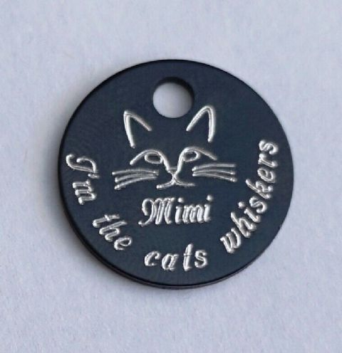 FUNNY CAT TAG - I'M THE CATS WHISKERS PERSONALISED FRONT AND BACK CAT ID TAG